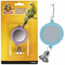 Flamingo (ФЛАМИНГО) MIRROR ROUND+BELL игрушка для попугаев круглое зеркало с колокольчиком