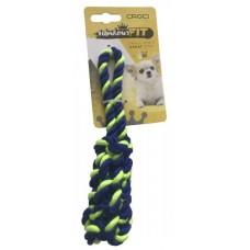 Игрушка для мелких собак CROCI плетеная кость из каната, зеленая, 19 см