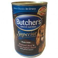 Butcher`s (Бутчерс) Superior консервы для собак говядина, утка, горох, кусочки в желе, 400 г