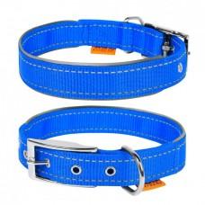 """Ошейник """"Dog Extremе"""" нейлоновый двойной со светоотражающей вставкой, голубой"""