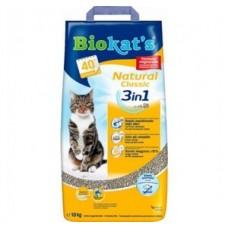Biokats Natural Classic 3in1 10кг - комкующийся наполнитель для кошачьего туалета